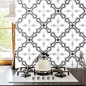 Decor Tie Black & White Floor Tile 150x150mm