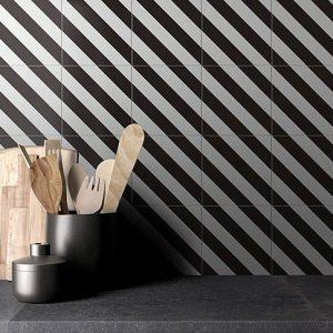 Picasso Diastripe Black Floor Tile 200x200mm