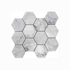 Carrara Hexagon 50mm Mosaic Feature Tile