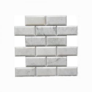 Carrara White Brick Interlocking Feature Tile 305x305mm