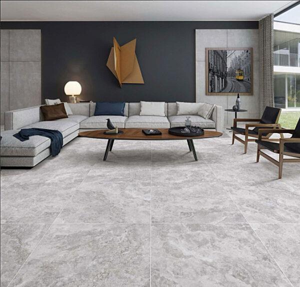 New Travertine Light Grey Matt Floor Tile 600x600mm