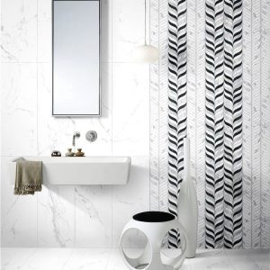 Snow 12 Decor Leaf Mix Carrara Wall Tile 300x800mm