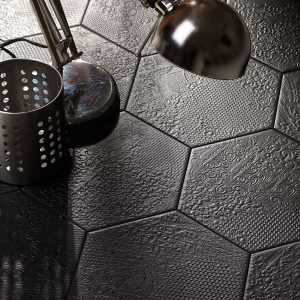 Milano Black Hexagon Floor Tile 220x250mm