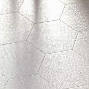 Milano White Hexagon Floor Tile 220x250mm