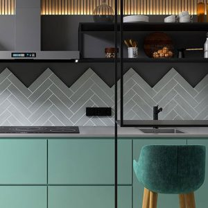 Edge Wave Light Grey Gloss Wall Tile 68x280mm