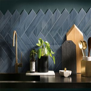 Pasha Dark Blue Gloss Wall Tile 75x300mm