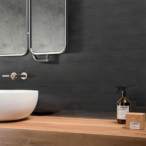 Pasha Gunmetal Grey Gloss Wall Tile 75x300mm