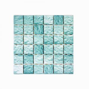 Ripple Face Aqua Mosaic Feature Tile 306x306mm