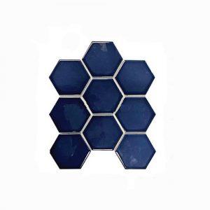 Hexagon Prussian Blue Feature Tile 256x295mm