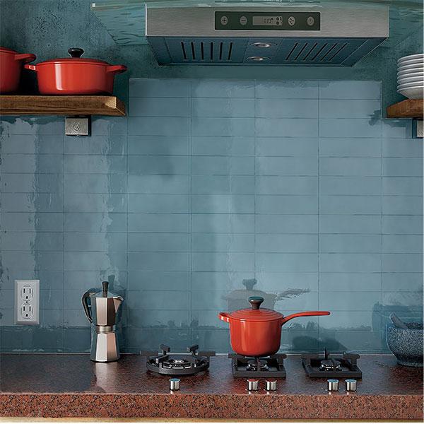 Casablanca Baby Blue Gloss Wall Tile 242x580mm