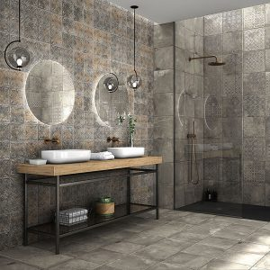 Antigua Deco Graphite Matt Floor Tile 333x333mm