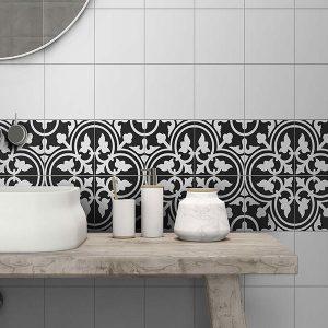 Picasso Shadow Black Floor Tile 200x200mm