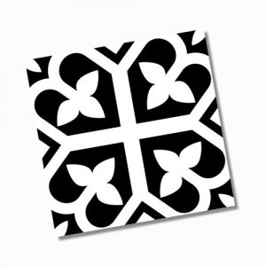 Picasso Bloom Black Floor Tile 200x200mm