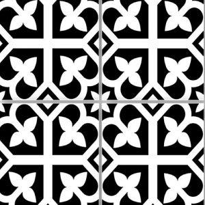 Picasso Bloom Black Floor Tile 200x200mm