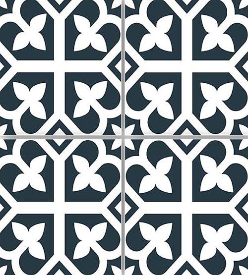 Picasso Bloom Navy Blue Floor Tile 200x200mm