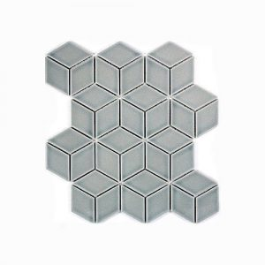 Cube Grey Gloss Mosaic Feature Tile 266x305mm