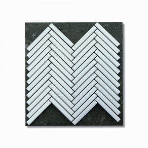White Matt Herringbone Feature Tile Sheet 266x238mm