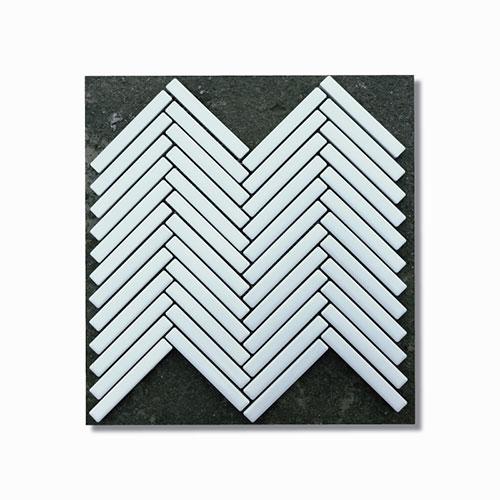 White Matt Herringbone Feature Tile Sheet 266x238mm
