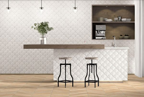 Scale Shell Glossy Interlock Feature Tile