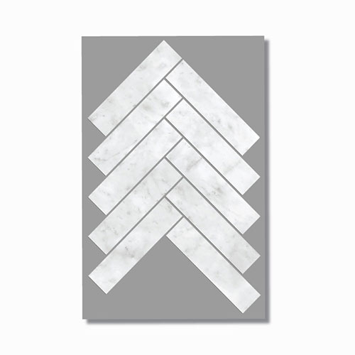 Artemis Carrara White Herringbone Mosaic Tile 35x150mm