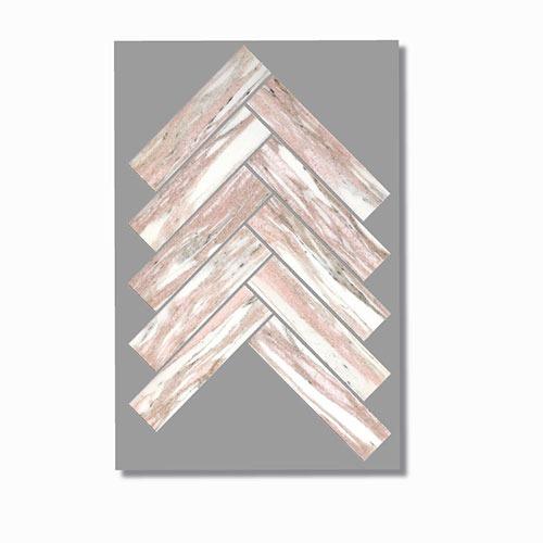 Artemis Norwegian Pink Herringbone Mosaic Tile 35x150mm