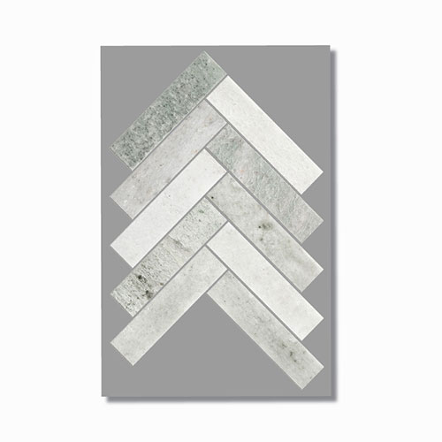 Artemis Ming Green Herringbone Mosaic Tile 35x150mm