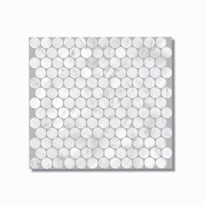 Artemis Carrara White Penny Round Mosaic Tile 300x300mm