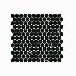 Artemis Nero Marquina Penny Round Mosaic Tile 300x300mm