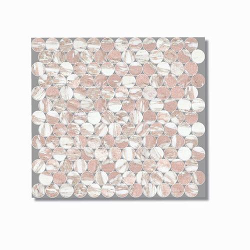 Artemis Norwegian Pink Penny Round Mosaic Tile 300x300mm