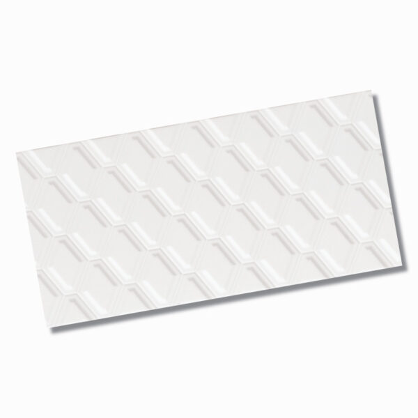 Winter Diamond Embossed White Wall Tile 300x600mm