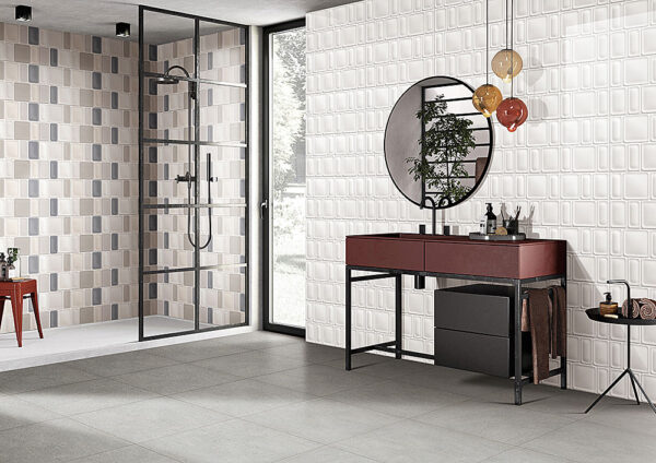 Winter Rectangle Mix White Wall Tile 300x600mm